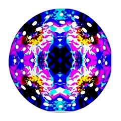Animal Design Abstract Blue, Pink, Black Ornament (round Filigree)  by Costasonlineshop