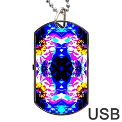 Animal Design Abstract Blue, Pink, Black Dog Tag Usb Flash (one Side) by Costasonlineshop