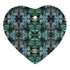 Green Black Gothic Pattern Ornament (heart)  by Costasonlineshop