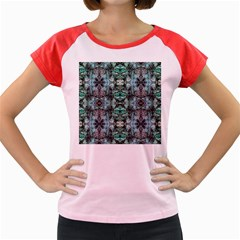Green Black Gothic Pattern Women s Cap Sleeve T Shirt by Costasonlineshop