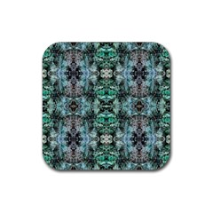 Green Black Gothic Pattern Rubber Square Coaster (4 Pack)  by Costasonlineshop