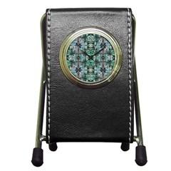 Green Black Gothic Pattern Pen Holder Desk Clocks by Costasonlineshop