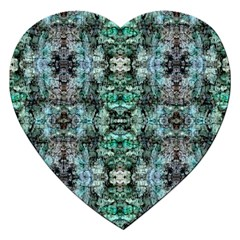 Green Black Gothic Pattern Jigsaw Puzzle (heart) by Costasonlineshop