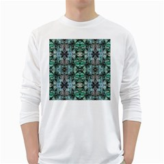 Green Black Gothic Pattern White Long Sleeve T Shirts by Costasonlineshop