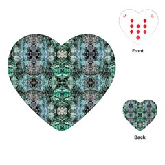 Green Black Gothic Pattern Playing Cards (heart)  by Costasonlineshop