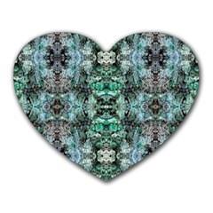 Green Black Gothic Pattern Heart Mousepads by Costasonlineshop