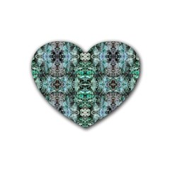 Green Black Gothic Pattern Rubber Coaster (heart)  by Costasonlineshop