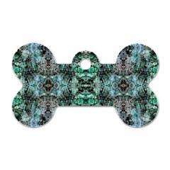 Green Black Gothic Pattern Dog Tag Bone (Two Sides) by Costasonlineshop