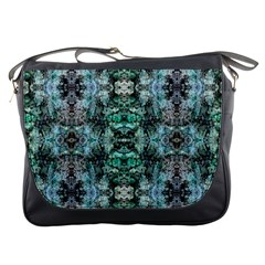 Green Black Gothic Pattern Messenger Bags by Costasonlineshop