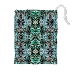 Green Black Gothic Pattern Drawstring Pouches (extra Large) by Costasonlineshop
