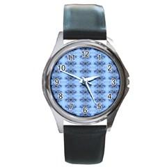 Pastel Blue Flower Pattern Round Metal Watches by Costasonlineshop