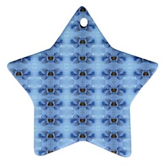 Pastel Blue Flower Pattern Ornament (star)  by Costasonlineshop