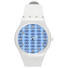Pastel Blue Flower Pattern Round Plastic Sport Watch (m) by Costasonlineshop