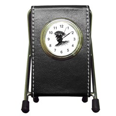 Cool Young Long Hair Man With Glasses Pen Holder Desk Clocks by dflcprints