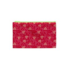 Red Pink Valentine Pattern With Coral Hearts Cosmetic Bag (xs) by ArigigiPixel