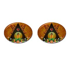 Surfing, Surfboard With Flowers And Floral Elements Cufflinks (oval) by FantasyWorld7