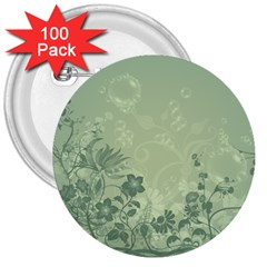 Wonderful Flowers In Soft Green Colors 3  Buttons (100 Pack)  by FantasyWorld7