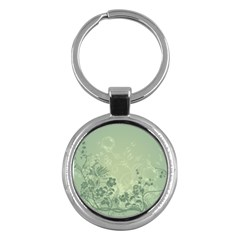 Wonderful Flowers In Soft Green Colors Key Chains (round)  by FantasyWorld7