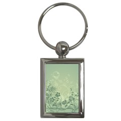 Wonderful Flowers In Soft Green Colors Key Chains (rectangle)  by FantasyWorld7