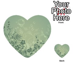 Wonderful Flowers In Soft Green Colors Multi Purpose Cards (heart)  by FantasyWorld7