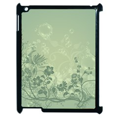 Wonderful Flowers In Soft Green Colors Apple iPad 2 Case (Black)