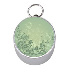 Wonderful Flowers In Soft Green Colors Mini Silver Compasses by FantasyWorld7