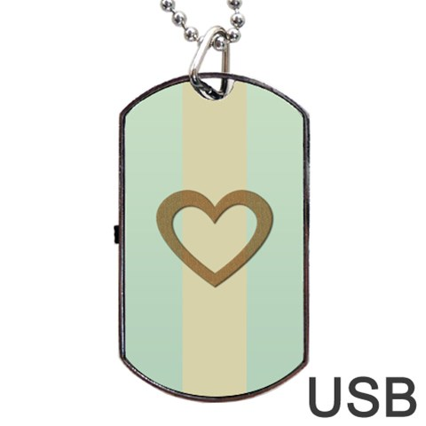 Gold Heart Love Pastels Green Wedding Romantic By Lucy   Dog Tag Usb Flash (one Side)   S6gw46joeid0   Www Artscow Com Front