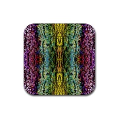 Abstract, Yellow Green, Purple, Tree Trunk Rubber Square Coaster (4 Pack)  by Costasonlineshop