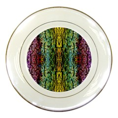 Abstract, Yellow Green, Purple, Tree Trunk Porcelain Plates by Costasonlineshop