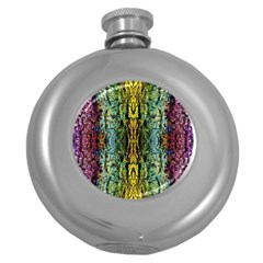 Abstract, Yellow Green, Purple, Tree Trunk Round Hip Flask (5 Oz) by Costasonlineshop