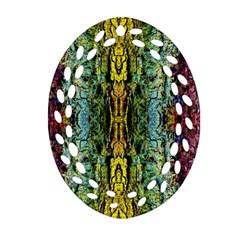 Abstract, Yellow Green, Purple, Tree Trunk Oval Filigree Ornament (2 Side)  by Costasonlineshop
