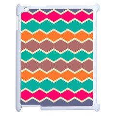 Colorful Chevrons Patternapple Ipad 2 Case (white) by LalyLauraFLM