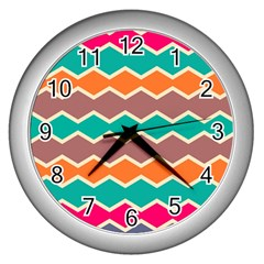 Colorful Chevrons Pattern			wall Clock (silver) by LalyLauraFLM