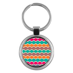 Colorful Chevrons Pattern			key Chain (round) by LalyLauraFLM