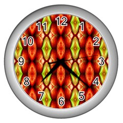 Melons Pattern Abstract Wall Clocks (silver)  by Costasonlineshop