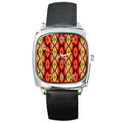 Melons Pattern Abstract Square Metal Watches by Costasonlineshop