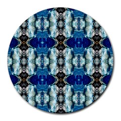Royal Blue Abstract Pattern Round Mousepads by Costasonlineshop