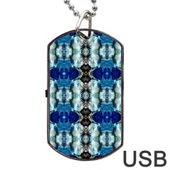 Royal Blue Abstract Pattern Dog Tag Usb Flash (one Side) by Costasonlineshop