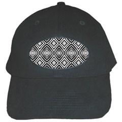 Black White Diamond Pattern Black Cap by Costasonlineshop