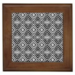Black White Diamond Pattern Framed Tiles by Costasonlineshop