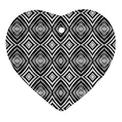 Black White Diamond Pattern Ornament (heart)  by Costasonlineshop