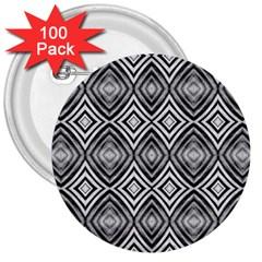 Black White Diamond Pattern 3  Buttons (100 Pack)  by Costasonlineshop