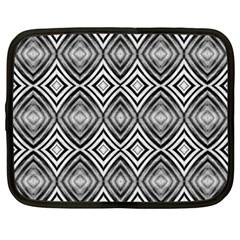 Black White Diamond Pattern Netbook Case (large) by Costasonlineshop