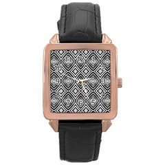Black White Diamond Pattern Rose Gold Watches by Costasonlineshop