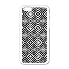 Black White Diamond Pattern Apple Iphone 6/6s White Enamel Case by Costasonlineshop