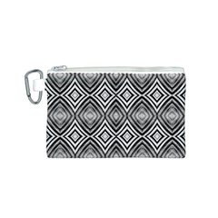 Black White Diamond Pattern Canvas Cosmetic Bag (S) by Costasonlineshop