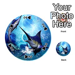 Awersome Marlin In A Fantasy Underwater World Playing Cards 54 (round)  by FantasyWorld7