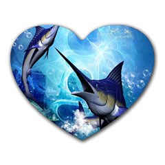 Awersome Marlin In A Fantasy Underwater World Heart Mousepads by FantasyWorld7