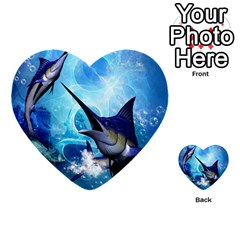 Awersome Marlin In A Fantasy Underwater World Multi Purpose Cards (heart)  by FantasyWorld7