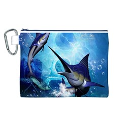 Awersome Marlin In A Fantasy Underwater World Canvas Cosmetic Bag (l) by FantasyWorld7